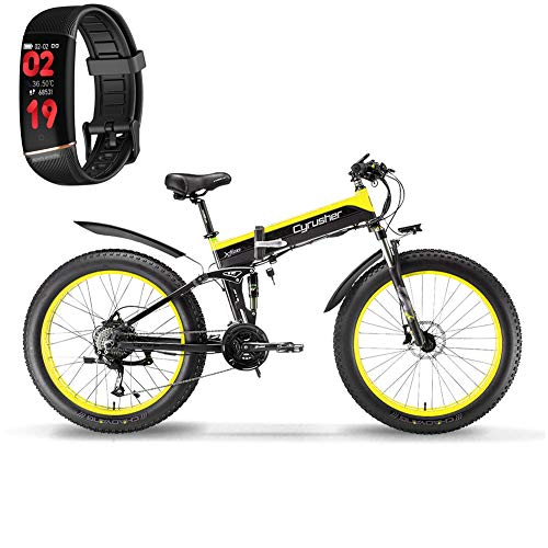 Extrbici Cruiser Bicicleta Eléctrica Plegable XF690 500w 48v 10A Electrónica Grasa Neumática E Bicicleta Completa Suspensión 7 Velocidades Bicicleta Eléctrica (Amarillo Negro)