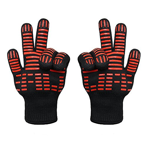 TTLIFE BBQ Grilling Cooking Gloves - 932°F Extreme Heat Resistant Gloves - 1 Pair (Short) - 11' Long for More Flexible -Buy One Get One Now