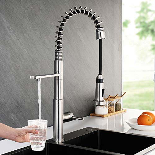 Faustina 3 Way Drinking Water Kitchen Faucet, Kitchen Sink Faucet with Pull Down Sprayer Commercial Single Handle Lever Spring Kitchen Faucet, 3 in 1 Water Filter Faucet