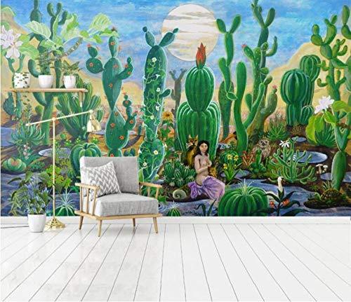 Wqavten 3D canvas, handgeschilderde kunstplanten, cactus, woonkamer, slaapkamer 150cmx100cm