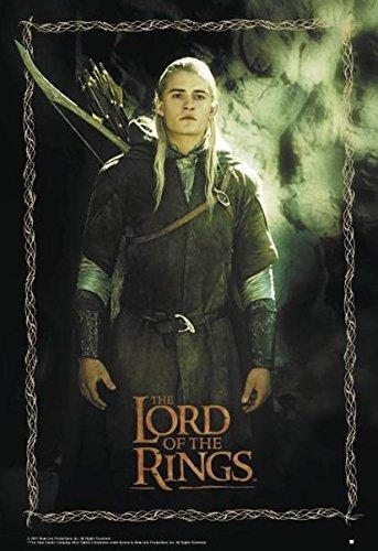 Close Up Herr der Ringe Poster Legolas (68,8cm x 98cm) + 2 St. Schwarze Posterleisten mit Aufhängung