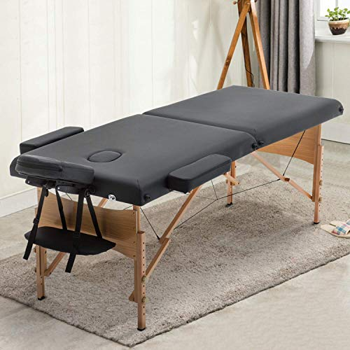 Sentiment 73 Inches Long 28 Inches Wide Folding Portable Massage Table with Carrying case, Black