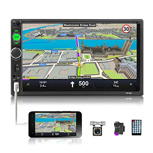 UNITOPSCI Double Din Car Stereo 7 Inch Touch Screen Car Audio Radio with Bluetooth Audio Hands-Free Calls Backup Camera FM Radio Receiver Car MP5 Player Support Mirror Link AUX-in USB TF Input