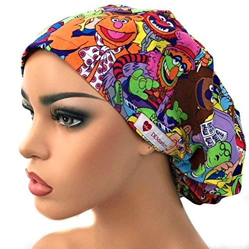 DK Scrub Hats Women s Adjustable Bouffant Scrub Hat Ponytail Surgical Cap  Retro Cartoon Characters 641ce288475