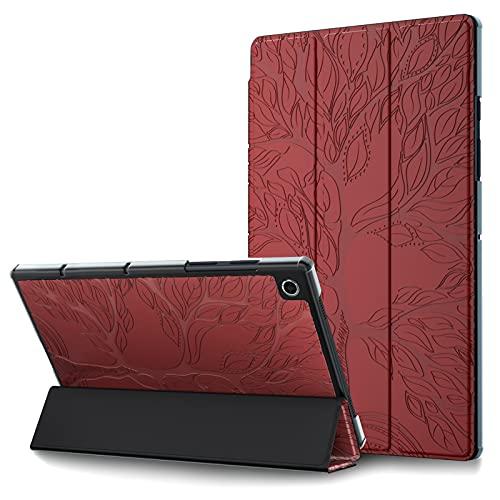 HülleFun Hülle für Lenovo Tab M10 FHD Plus 10.3,PU Leder Tasche Schutzhülle Hülle Superdünne Flip Hülle Cover mit Auto Schlaf/Wach Ständer Funktion für Lenovo Tab M10 FHD Plus (2nd Gen) 10.3,rot