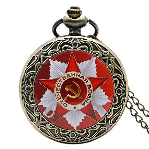 Reloj de bolsillo Retro CCCP Rusia Soviética Unión Rusa Bandera Hammer Insignias Sickle Pocket Watch Diseño de gancho URSS Cadena de collar Regalo para hombres Relojes de bolsillo Vintage Reloj de bol