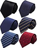 xtra long neck ties - WeiShang Lot 6 PCS 4 inch Extra Long Ties Classic Men's Wide Tie Necktie Neck Ties (Style 02), Large
