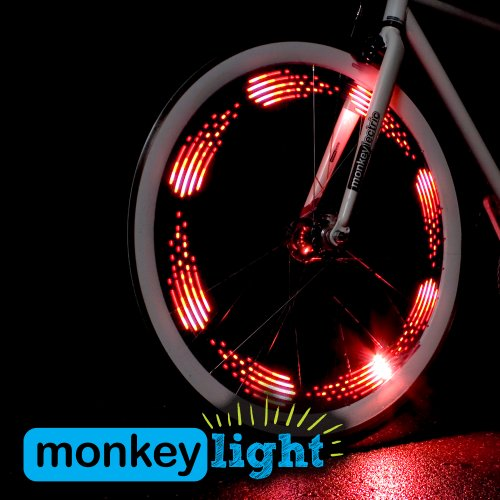 Monkey Light M210 Full Color Bike Wheel Tire Spoke Light Accessory 80 Lumen 10 LED Waterproof Ultra-durable AA Battery Cool & Great for Easter Baskets Toys, Teen and Tween boy and Girl Gifts.