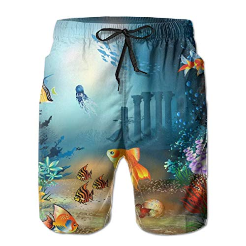 OMNHGFUG Goldfish - Pantalones cortos de natación para hombre, estilo informal, con cordón, elásticos, con bolsillos