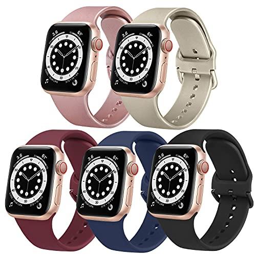 Amzpas 5 Stück Armband Kompatibel mit Apple Watch Armband 38mm 40mm 42mm 44mm, Silikon Sport Ersatzarmband Kompatibel mit iWatch Series SE/6/5/4/3/2/1 (38mm/40mm, 5 Stück-A)