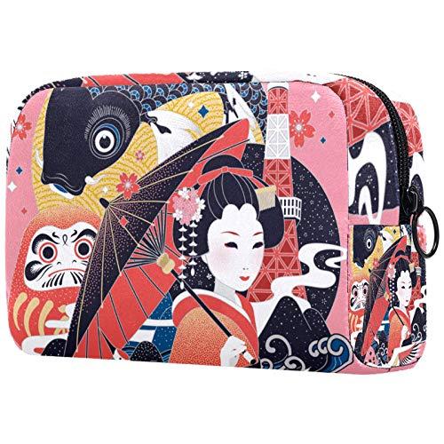 Cadeau de fête des mères Trousses à cosmétiques pour Femmes, Trousses de Maquillage Pochette de Toilette spacieuse Accessoires de Voyage Cadeaux - Grue Japonaise Geisha Koi Sakura Vintage