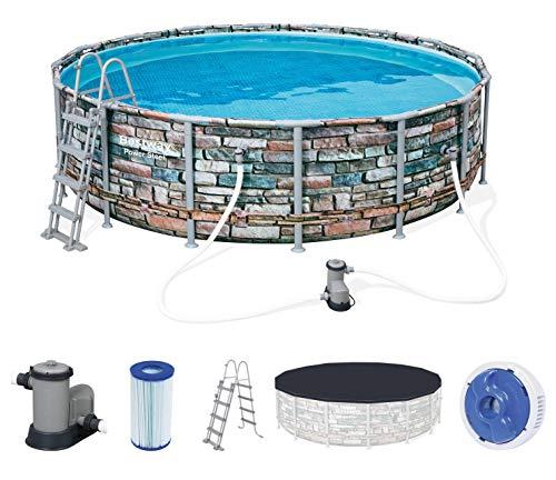 Bestway Power Steel 488x122 cm, stabiler Frame Pool rund im Komplett Set, inklusive Filterpumpe, Leiter und Abdeckplane