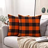 MIULEE Pack of 2 Buffalo Check Retro Checker Plaids Accent Throw Pillow Covers Cotton Linen Cushion Case for Sofa Couch Orange and Black 18 x 18 Inch 45 x 45 cm