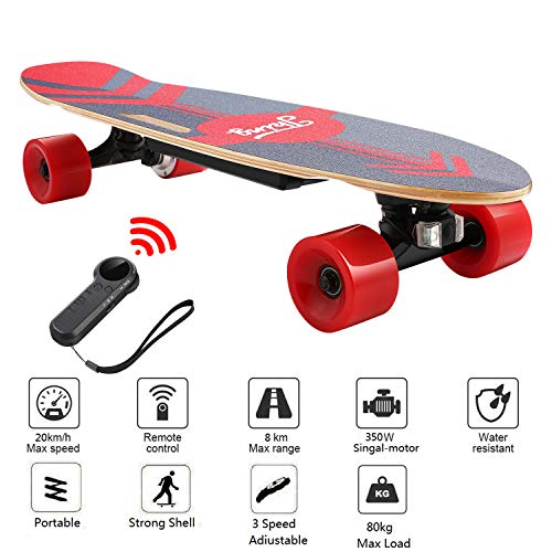 Nesaila 28inch Electric Skateboard 20 KM/H Top Speed, 350W Singal Motor,7 Layers Maple E Skateboard with Wireless Remote Complete Cruiser for Adults and Youths (Red)
