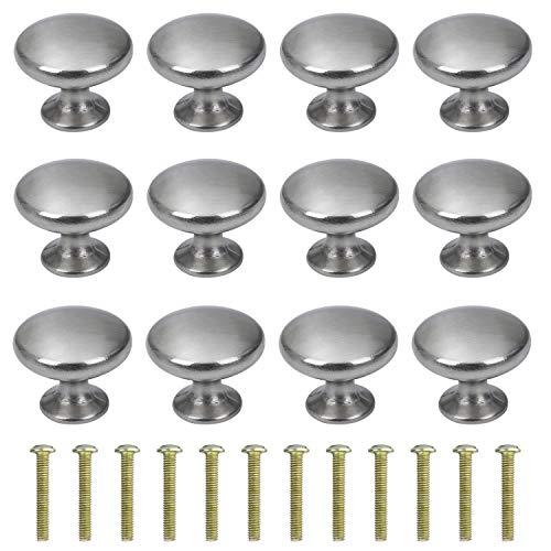 Perillas de Gabinete Redondas Perillas de Cajón 30mm Tiradores de Muebles Perilla de la Puerta con Tornillo Perillas Manijas para Armario Cajón Aparador Cocina 12 Piezas Acero