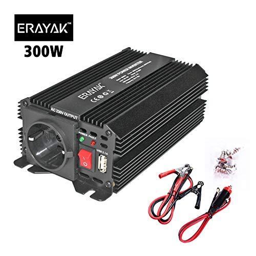 ERAYAK Inversor de Corriente 300W (Pico 600W), Convertidor, Transformador 12v 220v Con Puerto USB Con AC Tomas y Encendedor Convertidor para Automóviles