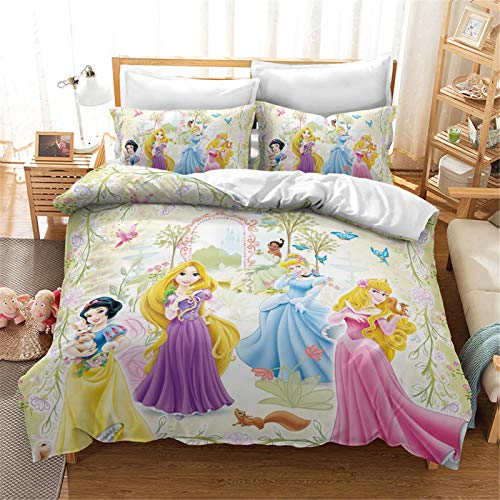 Bfrdollf Disney Princesas Juego de ropa de cama para niñas y niños, juego de microfibra con cremallera, cuidado fácil, antialérgico (5,140 x 210 cm)