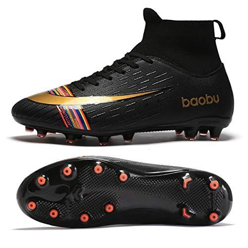 Holystep Scarpe da Calcio Uomo Professionale Sportivo Sneakers Baobu High Top TPU Breathable Soccer Shoes,Wear-Resistant Rubber Sole (9,C)