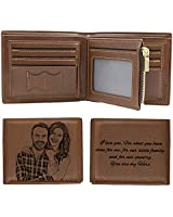 Custom Engraved Wallets Personalized Photo Leather Wallet Men,Husband,Dad,Son,Personalized Gifts (Style 1)