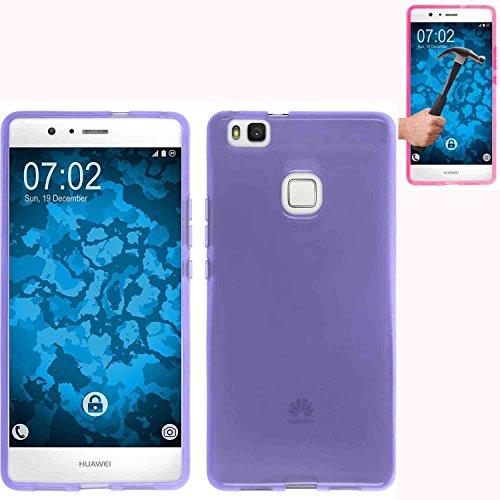 Todobarato24h Funda TPU Lisa Compatible con Huawei P10 Lite 5.2 Pulgadas Morada + Protector DE Cristal Templado
