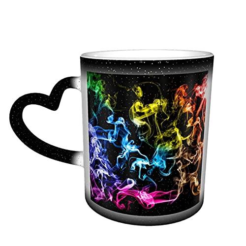 maichengxuan Unisex Reise-Kaffeetasse, Regenbogenfarben, bunt, Rauch, Zigarette, personalisierbar, wärmeempfindlich, Farbwechsel-Tasse, Milch-Teetasse, magische Kaffeetassen