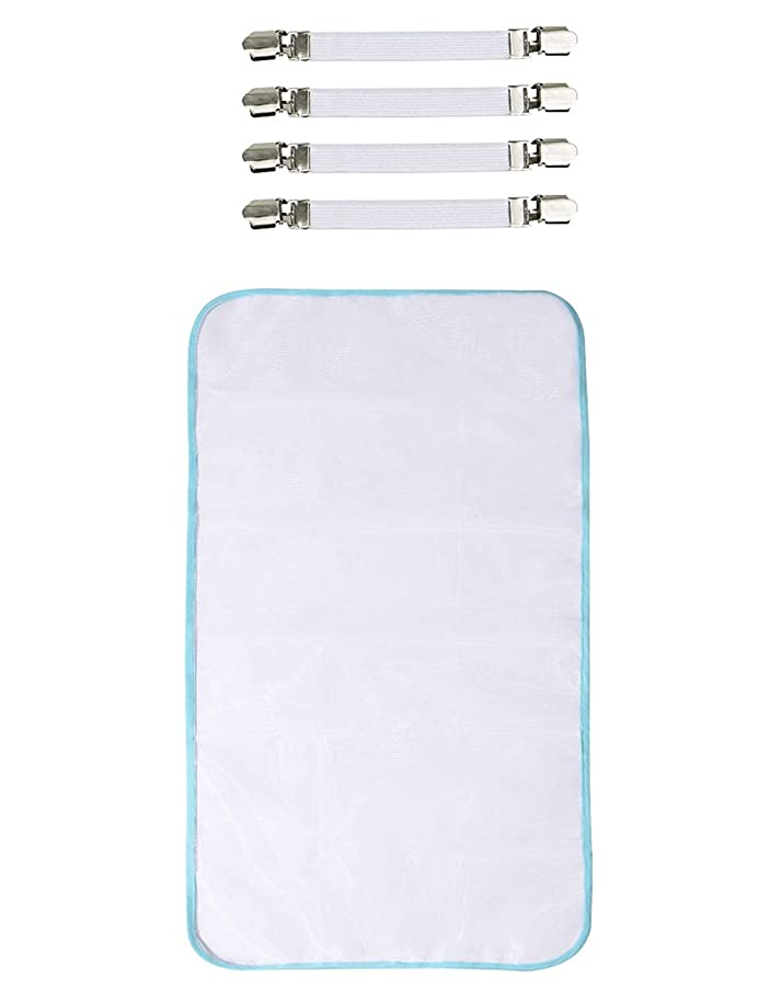 Dalykate 4pcs Elastic Ironing Board Cover Fasteners Metal Bed Sheet Holders Cover Suspenders Grippers Corner Clips for Couch, Sofa, Baby Crib, Tablecloth. Attached with Protective Scorch Mesh Cloth