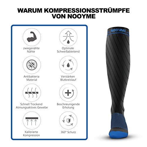 Nooyme Kompressionsstrümpfe/Stützstrümpfe/Thrombosestrümpfe/Damen & Herren – Medizinisch für Schwangerschaft, Sport, Flug, Durchblutung, Anti-Thrombose, Erholung(Blau) - 2