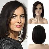 10'(25cm) Pelucas Mujer Pelo Natural Bob Lace Front Wig Human Hair 100% Remy Cabello Humano Brasileño Corta Lisa 130% Densidad (#1B Negro Natural,115g)