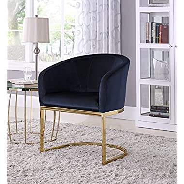 Iconic Home Siena Accent Club Chair Shell Design Velvet Upholstered Half-Moon Gold Plated Solid Metal U-Shaped Base…