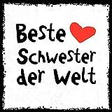 how about tee? - Beste Schwester der Welt - stylischer Kühlschrank Magnet mit lustigem Spruch-Motiv - zur Dekoration oder als Geschenk