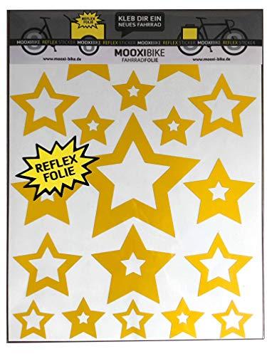 MOOXIBIKE Sticker Set Star gelb reflektierend, für Cargobike, Lastenrad, Fahrrad, Scooter, Roller & Helm, auch für Rennrad, Trekkingrad, Fixie, Mountainbike, Hollandrad, Citybike, Rollator & E-Bike