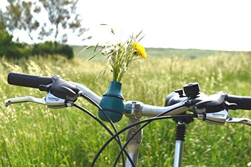 meindekoartikel Lifestyle Fahrradvase Frieda (blau) - Der Frühling kommt Fahrradlenker Blumenvase Fahrradtour H 9 cm