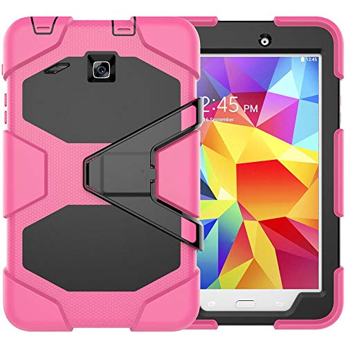 RZL PAD & TAB cases For Samsung Galaxy Tab E 8.0, Kickstand High Impact Resistant Shockproof Case Silicon Stand Cover For Samsung Galaxy Tab E 8.0 T377 T375 T377V SM-T377 (Color : Rose)