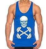THE LION Mancuerna del cráneo de los Hombres Camisa del músculo, Farbe2:Azul;Größe2:L