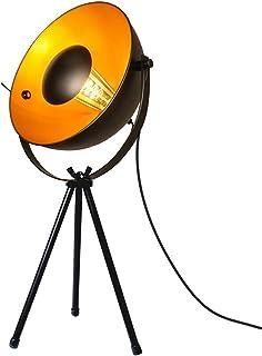 BarcelonaLED Lampe de table vintage trépied noir et spot doré nordique rétro industriel avec interrupteur culot E14 LED po...