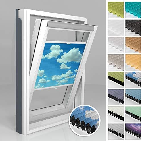Home-Vision® Dachfenster Premium Doppelplissee Wabenplissee ohne Bohren Velux-kompatibel (Weiß-Himmel für CK04 - Weiß) Zweifarbig Blickdicht Sonnenschutz, Alle Montage-Teile inklusive