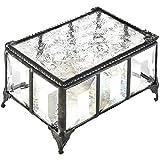 Beveled Glass Box Jewelry Chest Decorative Trinket Keepsake Display Crystal Clear Florentine Stained Glass Gift J Devlin Box 762