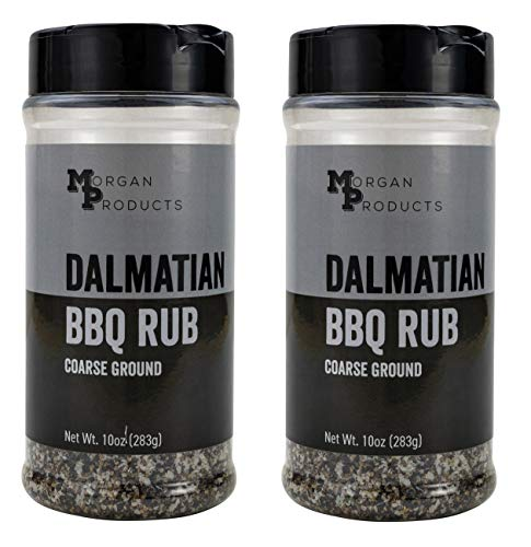 Dalmatian Seasoning and Rub, A coarse salt and pepper BBQ dry rub for both smoking briskets, shoulders, ribs, and grilling steaks, vegetables, and more. 2 pack