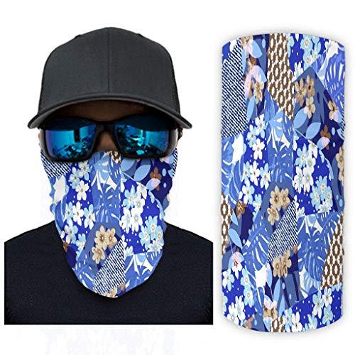 Blaues Blumenmuster 12 in 1 Multifunktional Stirnband Magische für Staub/Outdoor/Festivals/Sport für Herren & Damen White OneSize