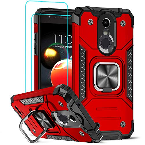 LeYi Compatible with LG Tribute Empire Case, LG Aristo 3/2/2 Plus/Rebel 4 LTE/Phoenix 4/Tribute Dynasty/Zone 4 Phone Cases with [2PCS] Tempered Glass Screen Protector, Ring Kickstand Cover, Red