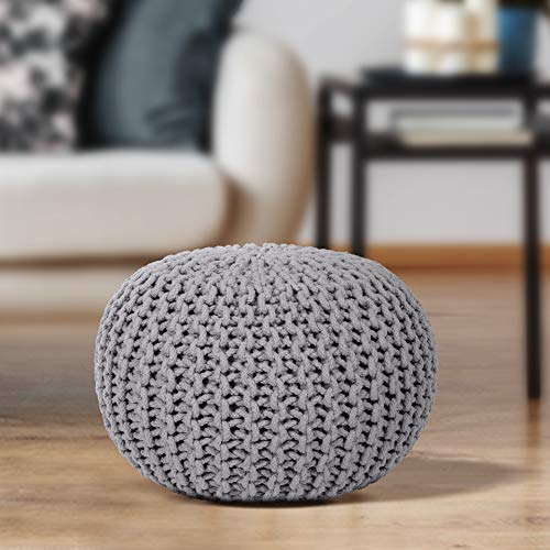 EHC 100 Percent Cotton Round Handmade Double Knitted Foot Stool with Braided Cushion Pouffe - Smoke