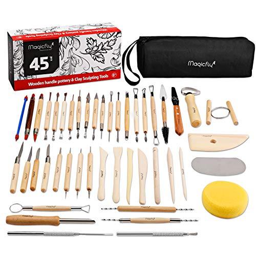Magicfly Töpferwerkzeug, 45 Stück Modellierwerkzeug Clay Keramik Sculpting Ton Werkzeug mit eine Aufbewahrungstasche für Töpfer Künstler für Halloween