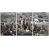 sechars - 3 Piece Canvas Wall Art City Seattle Skyline at Sunset Wall Pictures for Living Room Modern Washington Cityscape Art Wall Decor Stretched and Framed Ready to Hang