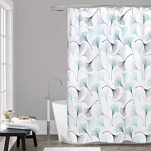 WELTRXE Stoff Duschvorhang mit Haken, grünes Blumenmuster, dekoratives Polyester-Tuch, Badezimmervorhänge, maschinenwaschbar, wasserdicht, 183 x 183 cm – Ginkgo-Blätter