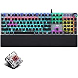 Gaming Mechanical Keyboard, Metal Panel104 Anti-ghosting Keys,Brown Switches,Led Backlit,USB Wired, Wrist Rest,Good for Game and Office,for Computer PC Desktop Laptop(2088-Black)