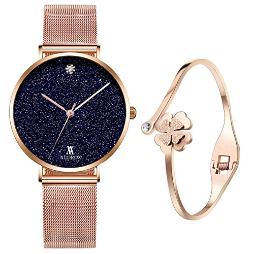 XLORDX Classic Damenuhr Marmor Rosegold Milanaise Edelstahl Mit Rosegold Armband