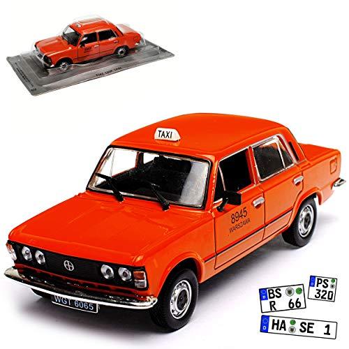 Unbekannt FIAT Polski 125P Taxi Rot Warszawa Warschau Limousine Blau Baugleich FSO 125P 1967-1991 1/43 Modellcarsonline Modell Auto