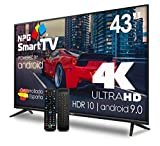 LED-Fernseher 43 Zoll UHD 4K 2160p Smart-TV Android 9.0 + Smart Control Qwerty/Motion. Tuner: DVB-T2 ( H.265 ), DVB-T HD ( H.264 ), DVB-T SD ( MPEG-2 ), DVB-C Auflösung: 3840×2160 Dolby Digital Plus Audio für kristallklaren Surround-Sound Fortschritt...