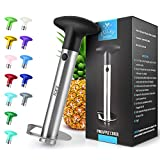 Zulay Kitchen Pineapple Corer and Slicer tool - Stainless Steel Pineapple Cutter for Easy Core Removal & Slicing - Super Fast Pineapple Slicer and Corer Tool Saves you Time (Black)