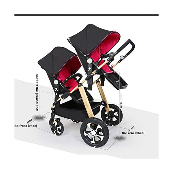 JXCC Double Strollers Baby Pram Tandem Buggy Newborn Pushchair Ultra Light Folding Child Shock Absorber Trolley Can Sit Half Lying 0-3 years old(Maximum loadable 50Kg baby) -Safe And Stylish A JXCC 1. {Four seasons can be} - The awning can be adjusted to multiple angles to easily cope with the sun, keep the baby warm in winter, and keep the windproof feet 2. {Multi-angle adjustable seat}: The seat can be adjusted between 0 and 175 degrees. The baby can sit and play, can lie flat, can lie down and drink milk, suitable for all occasions. Meet the needs of 0-3 year old baby. 3. {Multiple shock absorption design} - Rear wheel, two-wheel brake, wheel spring shockproof, baby is very safe 2